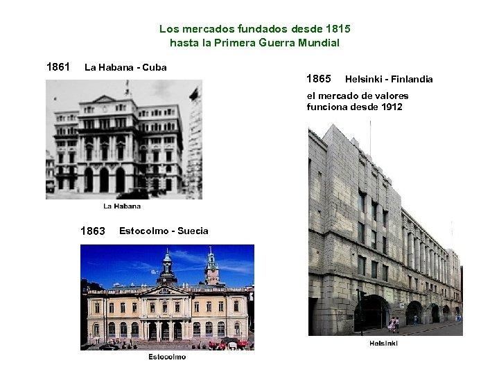 Los mercados fundados desde 1815 hasta la Primera Guerra Mundial 1861 La Habana -