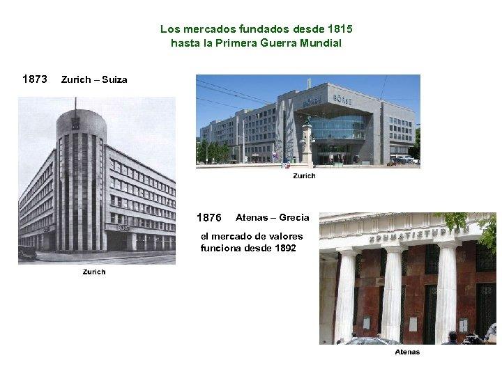 Los mercados fundados desde 1815 hasta la Primera Guerra Mundial 1873 Zurich – Suiza