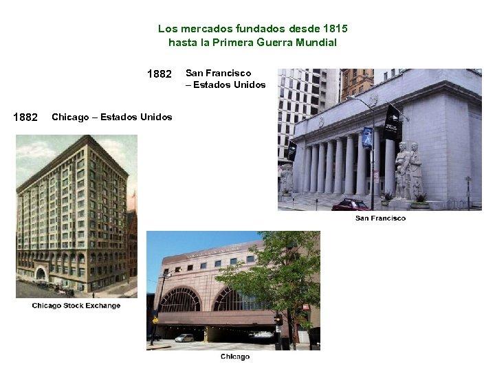 Los mercados fundados desde 1815 hasta la Primera Guerra Mundial 1882 Chicago – Estados