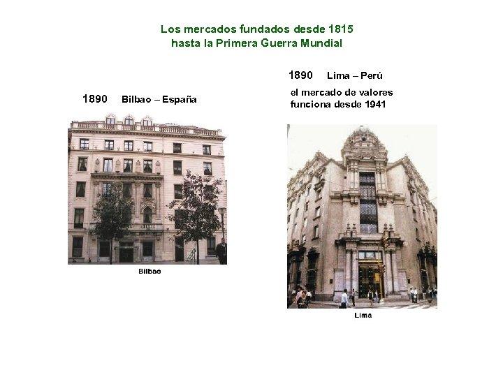 Los mercados fundados desde 1815 hasta la Primera Guerra Mundial 1890 Bilbao – España