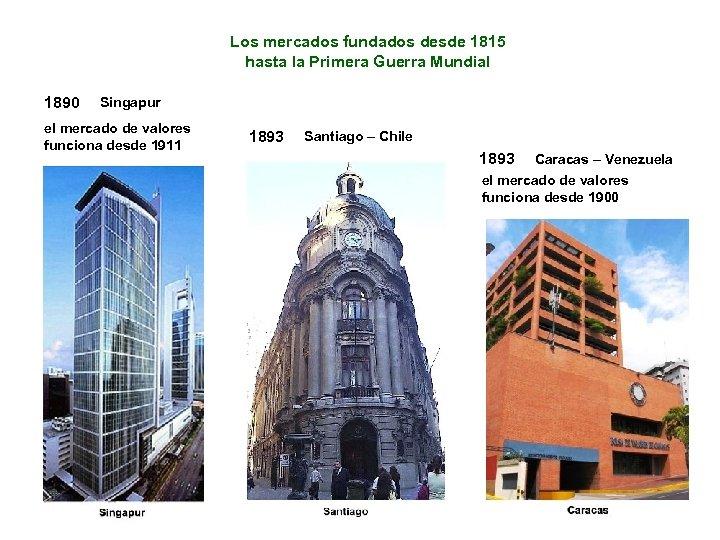Los mercados fundados desde 1815 hasta la Primera Guerra Mundial 1890 Singapur el mercado