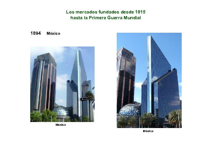 Los mercados fundados desde 1815 hasta la Primera Guerra Mundial 1894 México