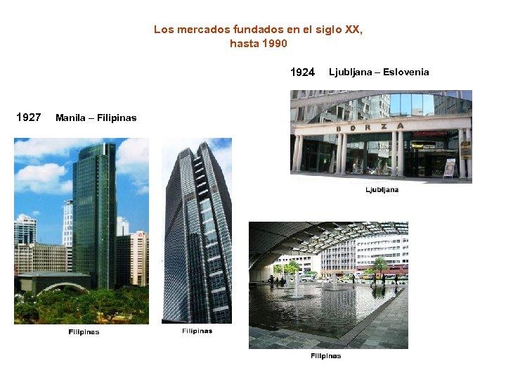 Los mercados fundados en el siglo XX, hasta 1990 1924 1927 Manila – Filipinas
