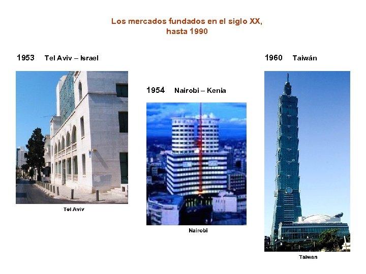 Los mercados fundados en el siglo XX, hasta 1990 1953 1960 Tel Aviv –