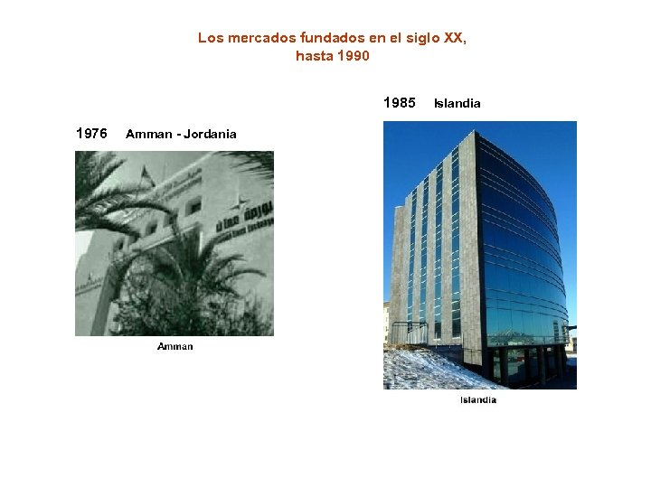 Los mercados fundados en el siglo XX, hasta 1990 1985 1976 Amman - Jordania
