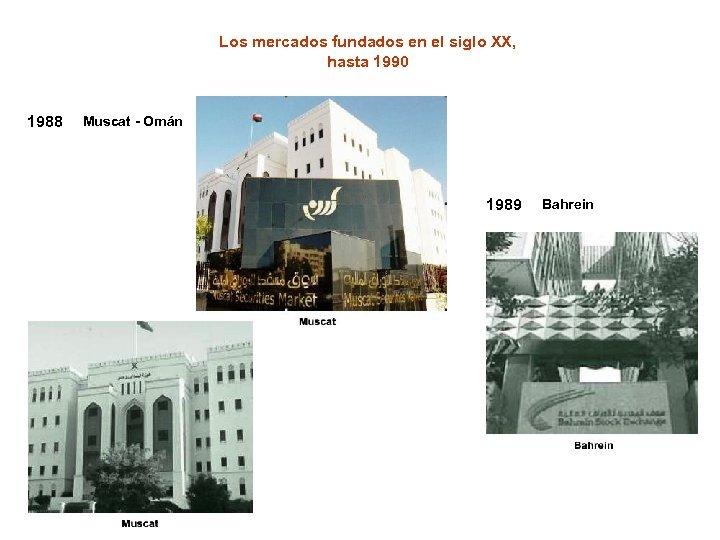 Los mercados fundados en el siglo XX, hasta 1990 1988 Muscat - Omán 1989