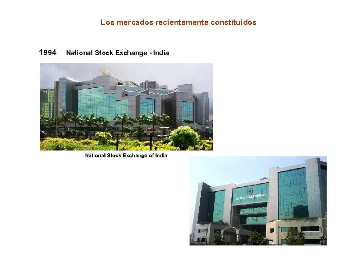 Los mercados recientemente constituidos 1994 National Stock Exchange - India