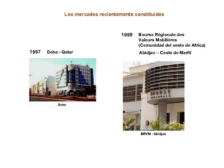 Los mercados recientemente constituidos 1998 1997 Doha - Qatar Bourse Régionale des Valeurs Mobilières