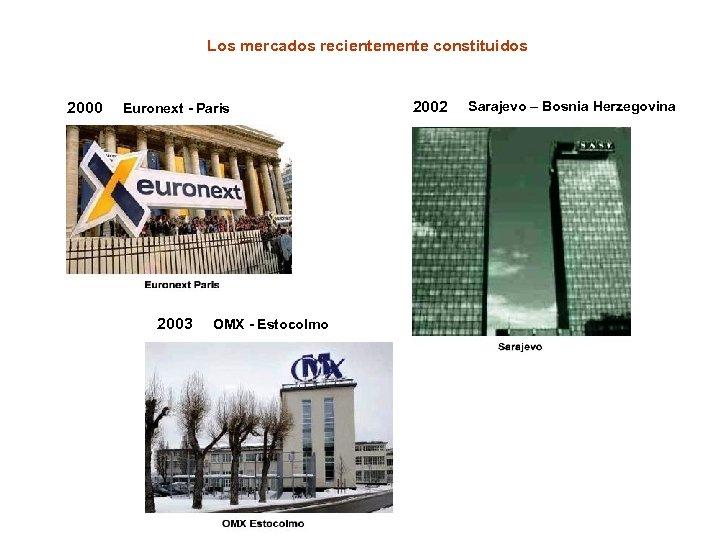 Los mercados recientemente constituidos 2000 Euronext - Paris 2003 OMX - Estocolmo 2002 Sarajevo