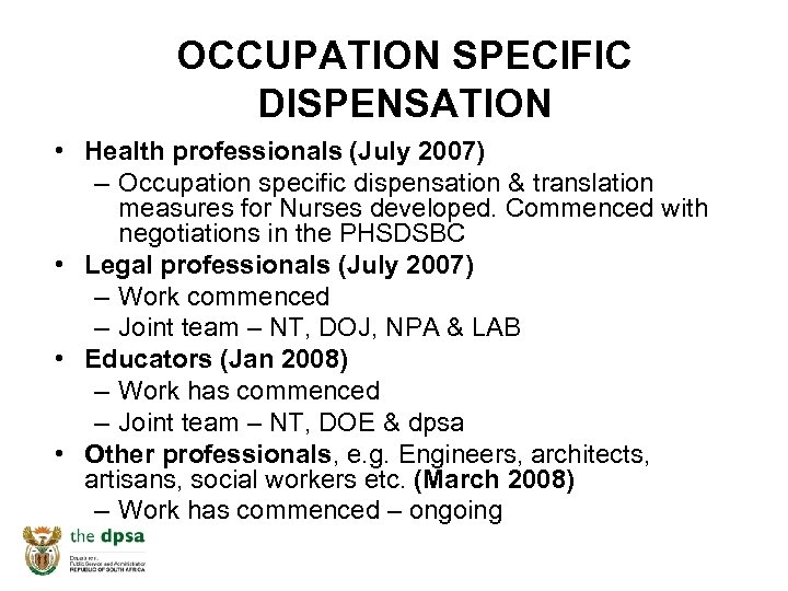 OCCUPATION SPECIFIC DISPENSATION • Health professionals (July 2007) – Occupation specific dispensation & translation