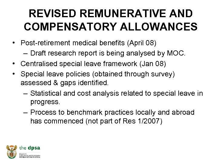 REVISED REMUNERATIVE AND COMPENSATORY ALLOWANCES • Post-retirement medical benefits (April 08) – Draft research