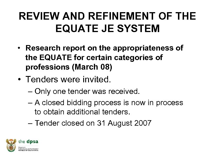 REVIEW AND REFINEMENT OF THE EQUATE JE SYSTEM • Research report on the appropriateness
