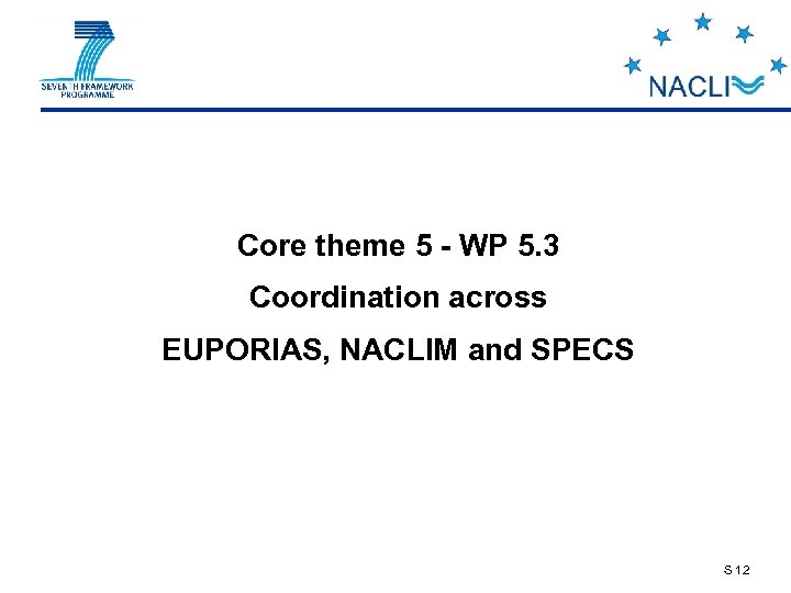 Core theme 5 - WP 5. 3 Coordination across EUPORIAS, NACLIM and SPECS S