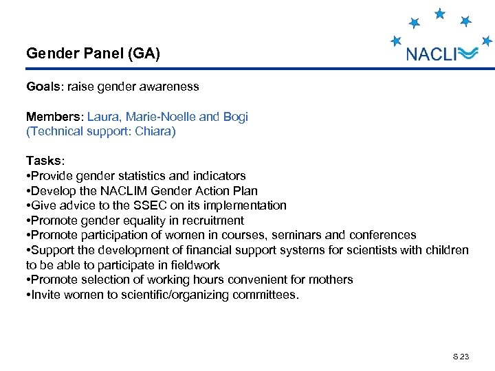 Gender Panel (GA) Goals: raise gender awareness Members: Laura, Marie-Noelle and Bogi (Technical support:
