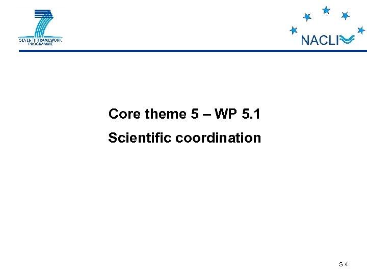 Core theme 5 – WP 5. 1 Scientific coordination S 4