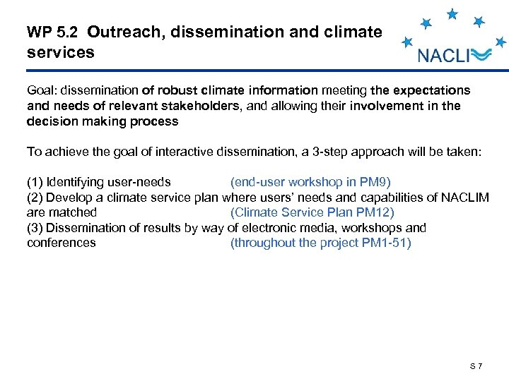 WP 5. 2 Outreach, dissemination and climate services Goal: dissemination of robust climate information