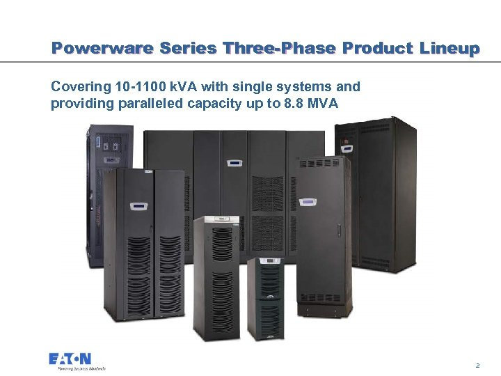 Powerware Series Three-Phase Product Lineup Covering 10 -1100 k. VA with single systems and