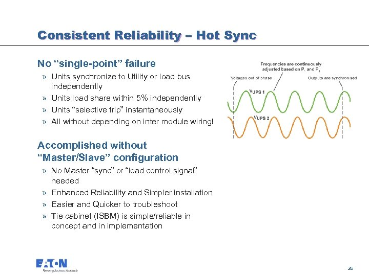"Consistent Reliability – Hot Sync No ""single-point"" failure » Units synchronize to Utility or"