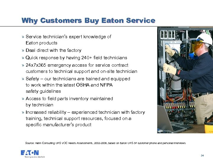 Why Customers Buy Eaton Service » Service technician's expert knowledge of Eaton products »