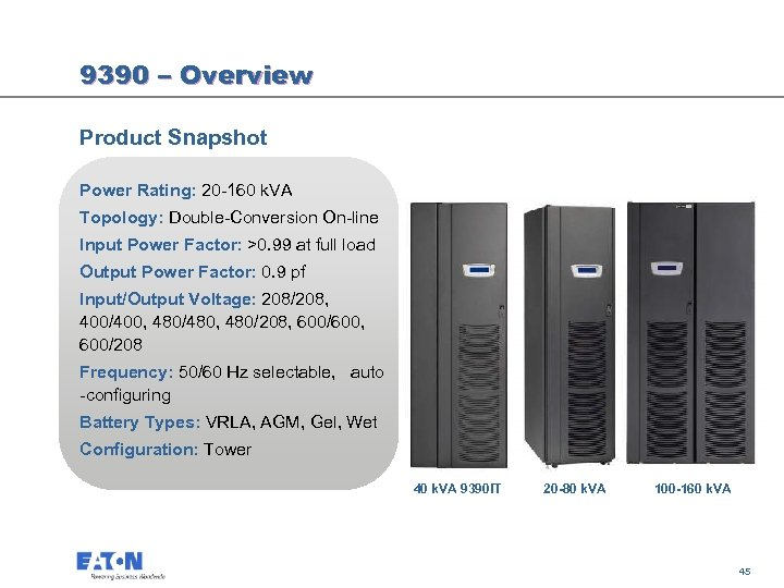 9390 – Overview Product Snapshot Power Rating: 20 -160 k. VA Topology: Double-Conversion On-line