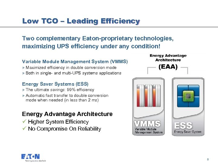 Low TCO – Leading Efficiency Two complementary Eaton-proprietary technologies, maximizing UPS efficiency under any