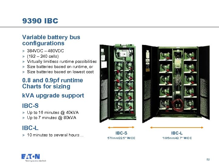 9390 IBC Variable battery bus configurations » » » 384 VDC – 480 VDC