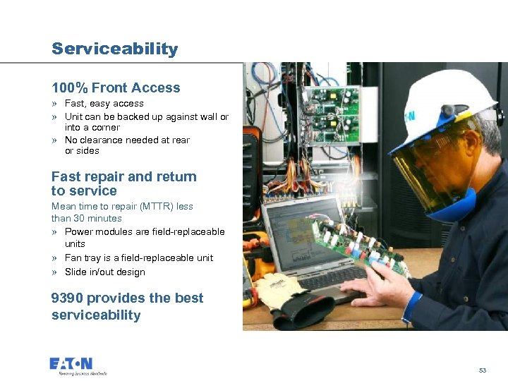 Serviceability 100% Front Access » Fast, easy access » Unit can be backed up