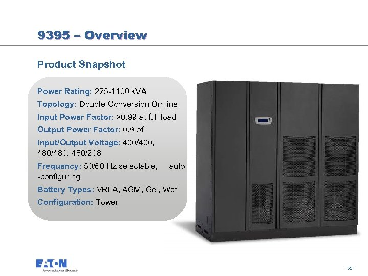 9395 – Overview Product Snapshot Power Rating: 225 -1100 k. VA Topology: Double-Conversion On-line
