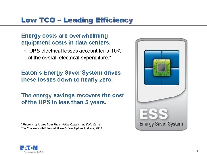 Low TCO – Leading Efficiency Energy costs are overwhelming equipment costs in data centers.
