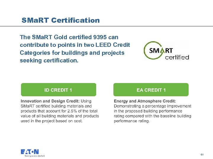 SMa. RT Certification The SMa. RT Gold certified 9395 can contribute to points in