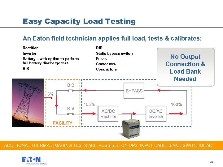 Easy Capacity Load Testing An Eaton field technician applies full load, tests & calibrates: