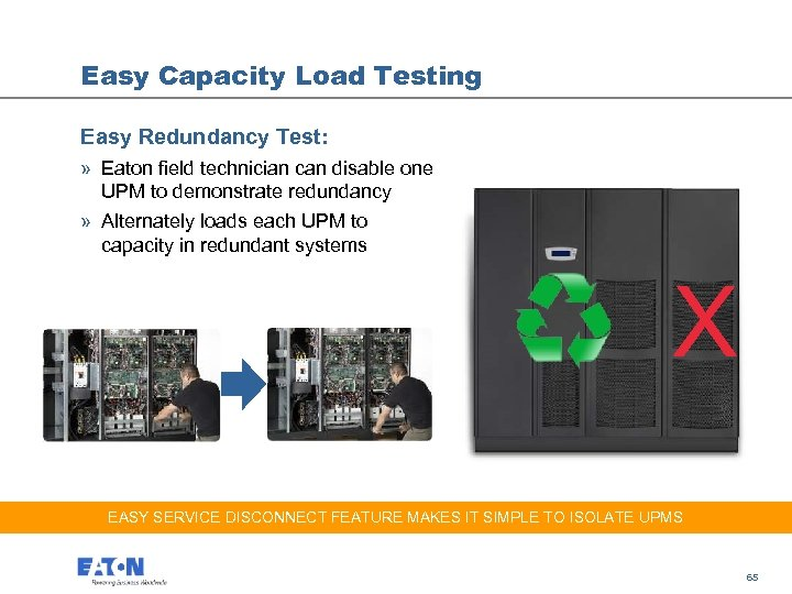 Easy Capacity Load Testing Easy Redundancy Test: » Eaton field technician can disable one