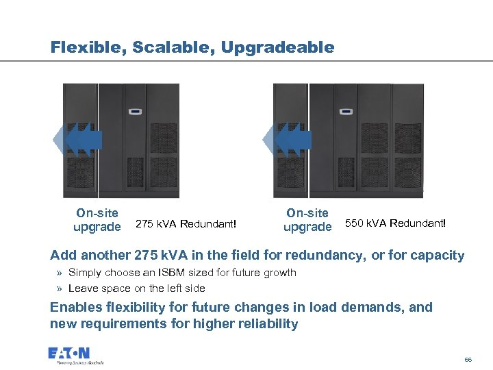 Flexible, Scalable, Upgradeable On-site upgrade 275 k. VA Redundant! On-site upgrade 550 k. VA