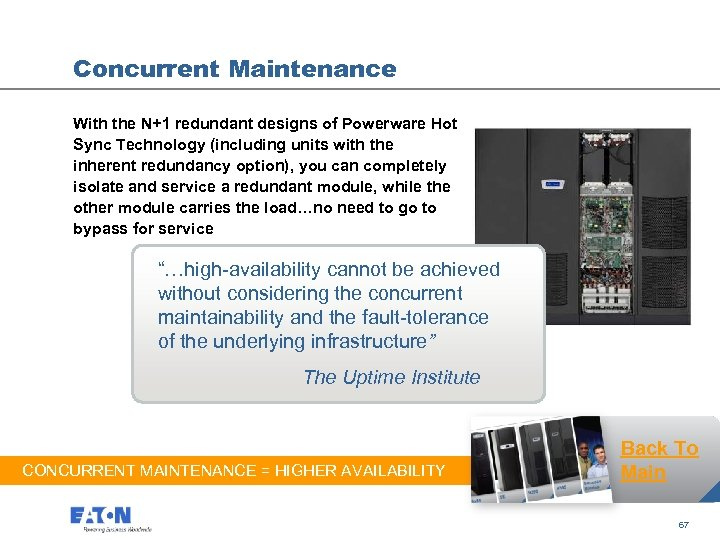 Concurrent Maintenance With the N+1 redundant designs of Powerware Hot Sync Technology (including units