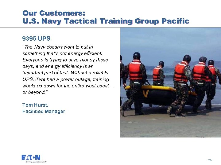"Our Customers: U. S. Navy Tactical Training Group Pacific 9395 UPS ""The Navy doesn't"