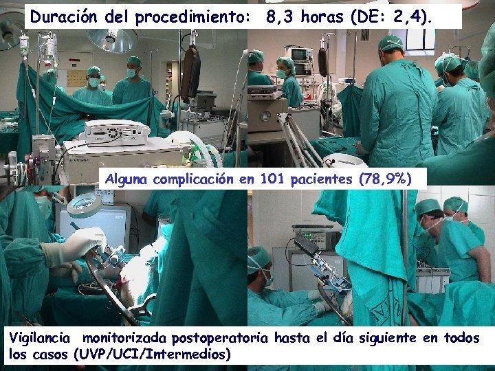 Duración del procedimiento: 8, 3 horas (DE: 2, 4). Alguna complicación en 101 pacientes