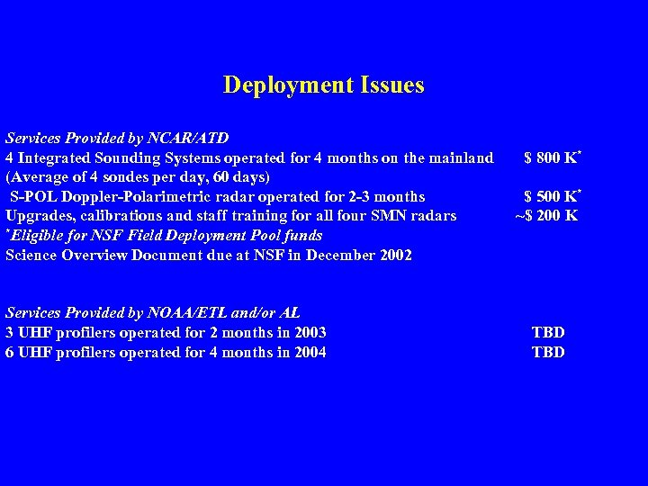 Deployment Issues Services Provided by NCAR/ATD 4 Integrated Sounding Systems operated for 4 months
