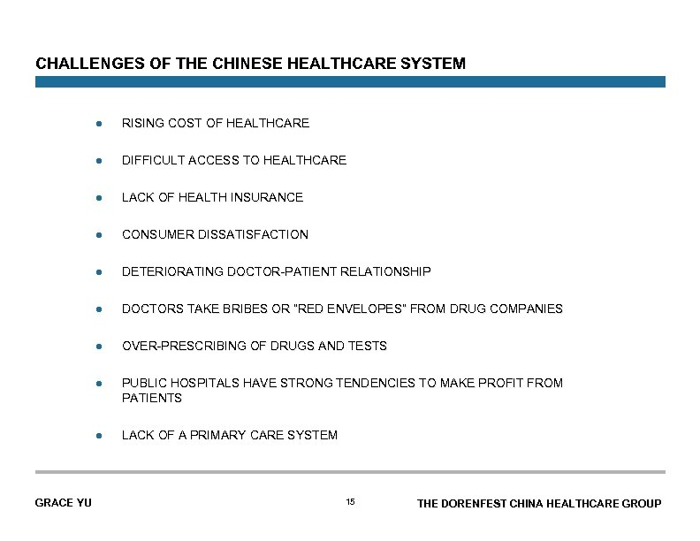 CHALLENGES OF THE CHINESE HEALTHCARE SYSTEM l l DIFFICULT ACCESS TO HEALTHCARE l LACK