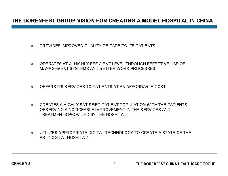 THE DORENFEST GROUP VISION FOR CREATING A MODEL HOSPITAL IN CHINA l l OPERATES
