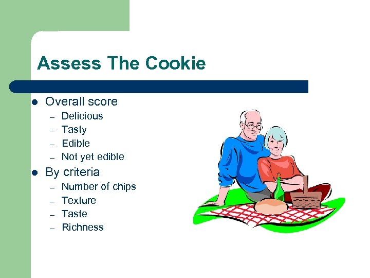 Assess The Cookie l Overall score – – l Delicious Tasty Edible Not yet