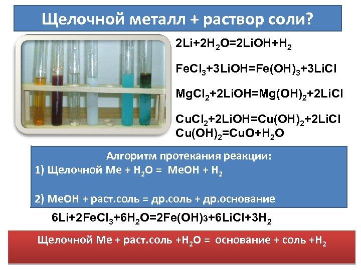 Щелочной металл + раствор соли? 2 Li+2 H 2 O=2 Li. OH+H 2 Fe.