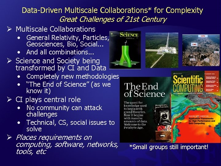 Data-Driven Multiscale Collaborations* for Complexity Great Challenges of 21 st Century Ø Multiscale Collaborations