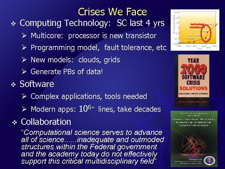 Crises We Face v Computing Technology: SC last 4 yrs Ø Multicore: processor is