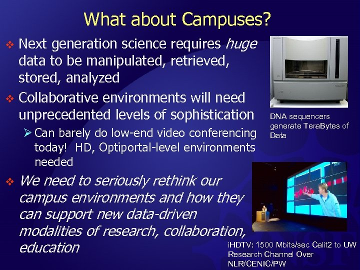 What about Campuses? Next generation science requires huge data to be manipulated, retrieved, stored,