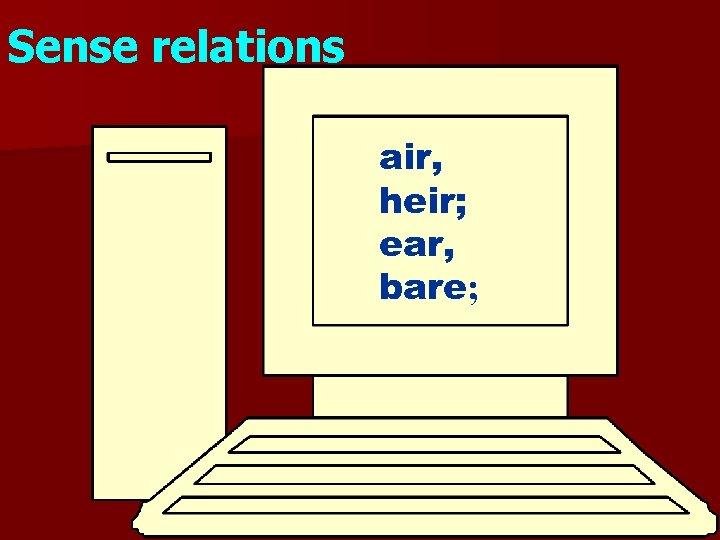Sense relations air, heir; ear, bare;