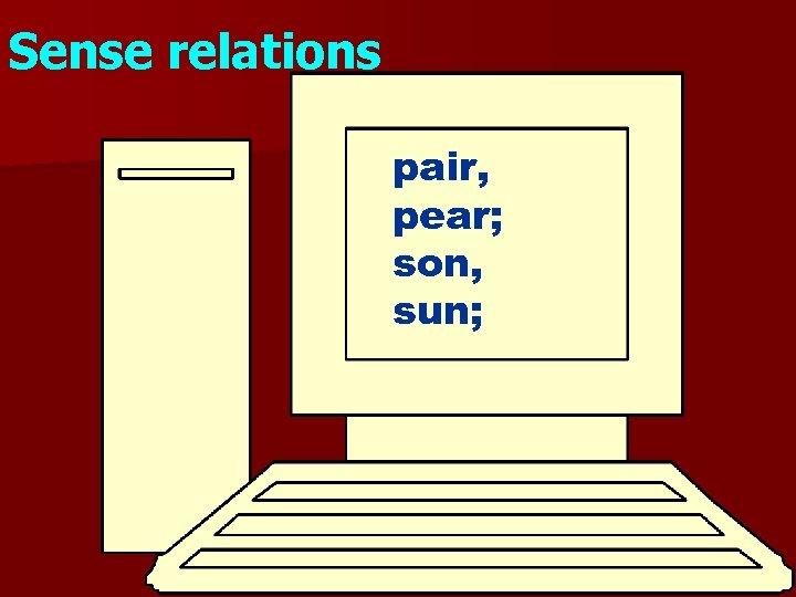 Sense relations pair, pear; son, sun;