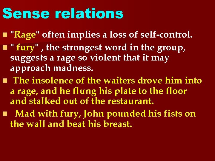 Sense relations n