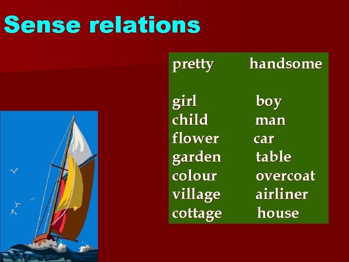 Sense relations pretty handsome girl child flower garden colour village cottage boy man car
