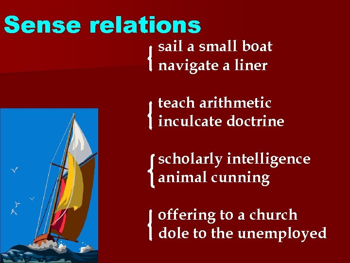 Sense relations sail a small boat navigate a liner teach arithmetic inculcate doctrine scholarly