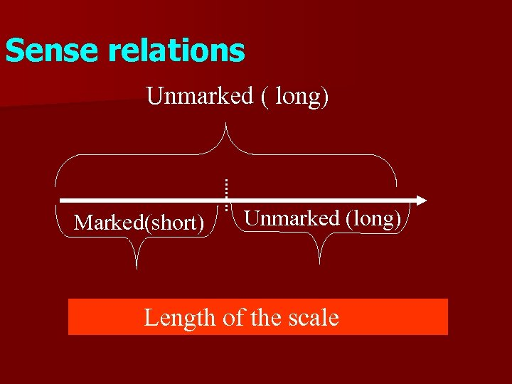 Sense relations Unmarked ( long) Marked(short) Unmarked (long) Length of the scale